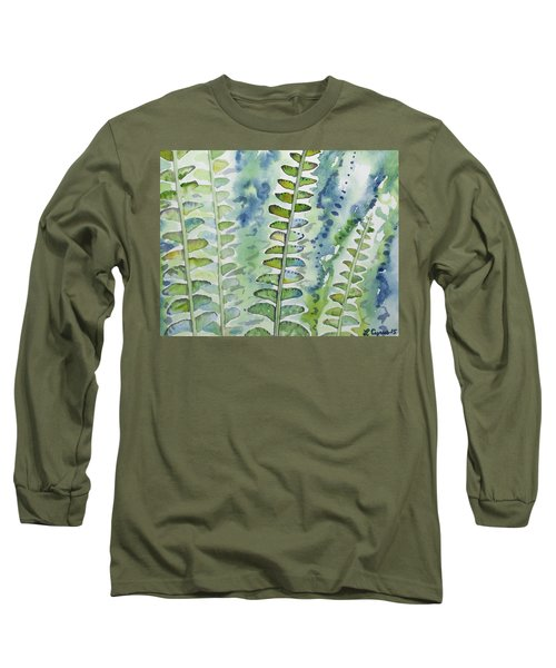 Watercolor - Rainforest Fern Impressions Long Sleeve T-Shirt