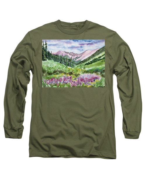 Watercolor - San Juans Mountain Landscape Long Sleeve T-Shirt