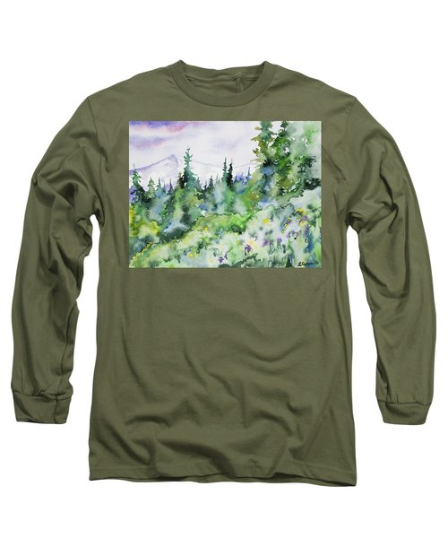 Watercolor - Summer In The Rockies Long Sleeve T-Shirt