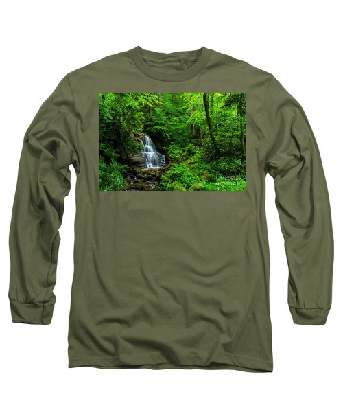Waterfall And Rhododendron In Bloom Long Sleeve T-Shirt