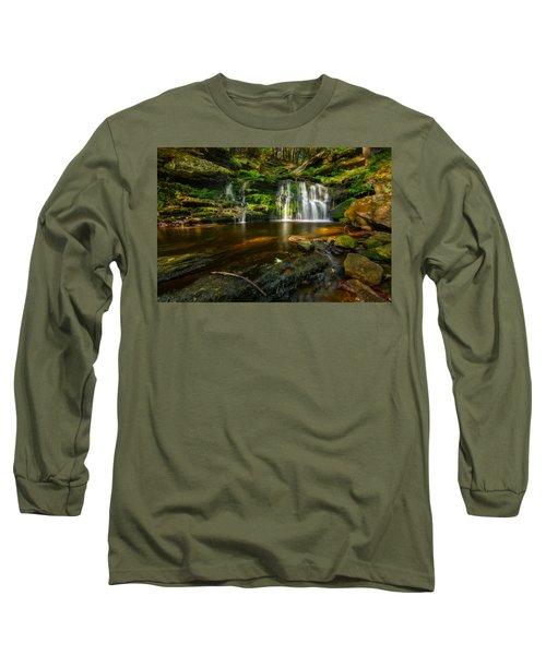 Waterfall At Day Pond State Park Long Sleeve T-Shirt by Craig Szymanski