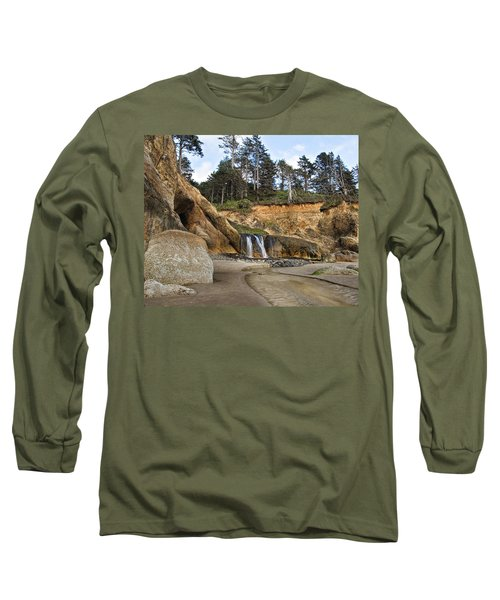 Waterfall At Hug Point State Park Oregon Long Sleeve T-Shirt