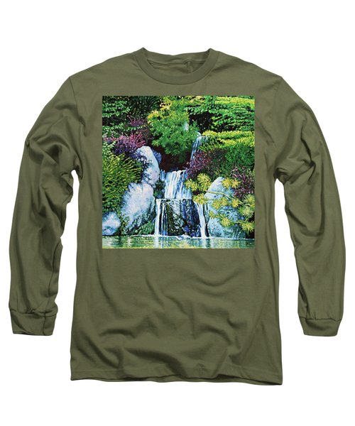 Waterfall At Japanese Garden Long Sleeve T-Shirt