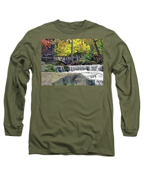 Waterfall At Olmsted Falls - 1 Long Sleeve T-Shirt