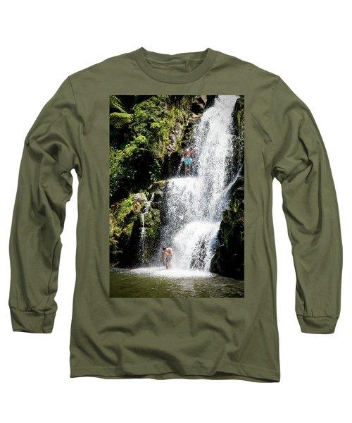 Waterfall In New Zealand Long Sleeve T-Shirt