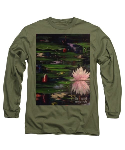 Long Sleeve T-Shirt featuring the painting Waterlilies - Original Sold by Therese Alcorn