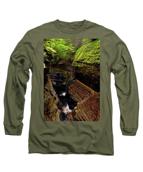 Watkins Glen State Park - Rainbow Falls 003 Long Sleeve T-Shirt by George Bostian