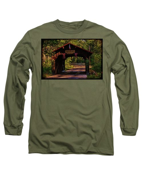 Long Sleeve T-Shirt featuring the photograph Waupaca Covered Bridge by Trey Foerster