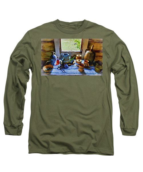 Long Sleeve T-Shirt featuring the painting Welcome Table by Joan Reese