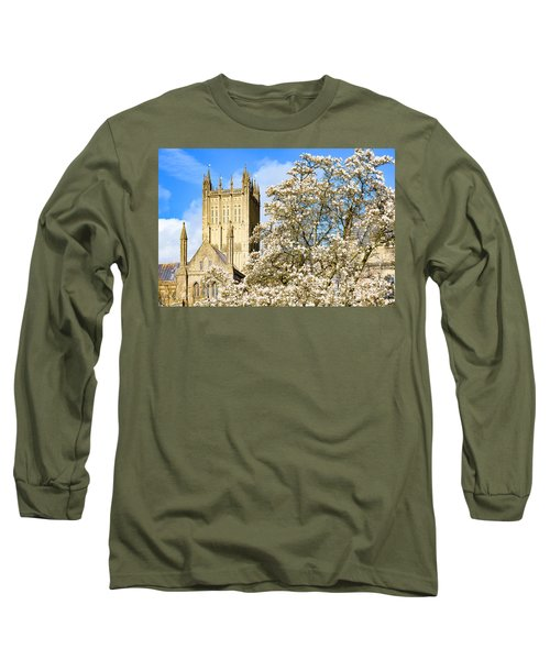 Wells Cathedral And Spring Blossom Long Sleeve T-Shirt by Colin Rayner