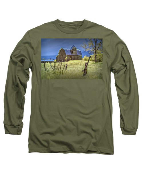West Michigan Barn With Barb Wire Fence In Infrared Long Sleeve T-Shirt