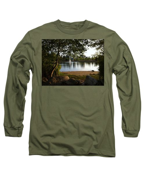 Long Sleeve T-Shirt featuring the painting West View Of Lafarge Lake by Rod Jellison