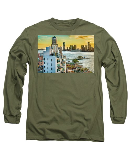 Long Sleeve T-Shirt featuring the photograph West Village To Jersey City Sunset by Chris Lord