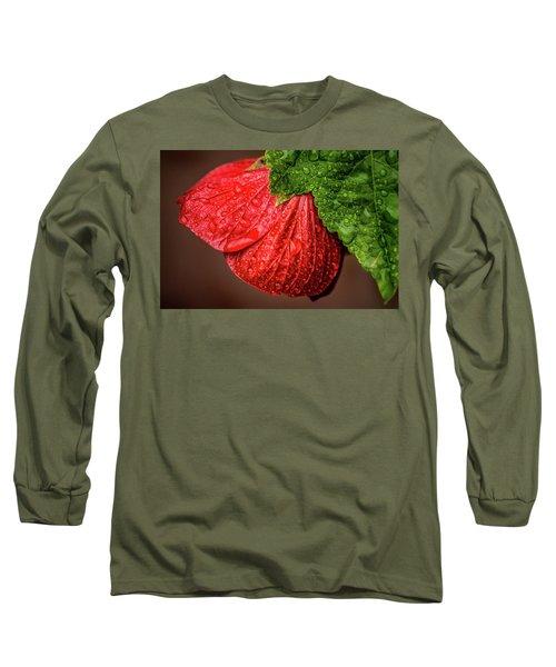 Wet Flower-abutilon Long Sleeve T-Shirt