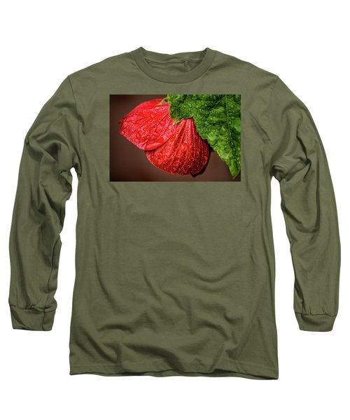 Wet Flower-abutilon Long Sleeve T-Shirt