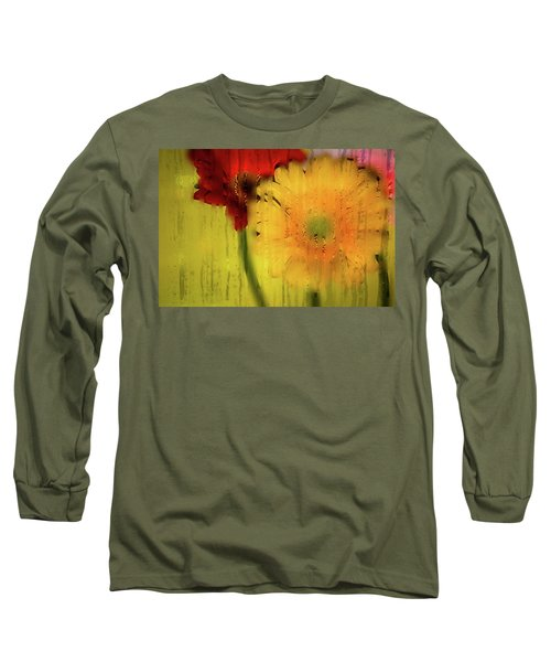 Wet Glass Flowers Long Sleeve T-Shirt