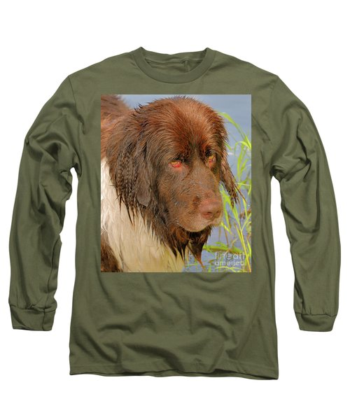 Long Sleeve T-Shirt featuring the photograph Wet Newfie by Debbie Stahre