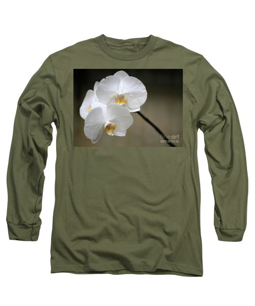 Wet White Orchids Long Sleeve T-Shirt