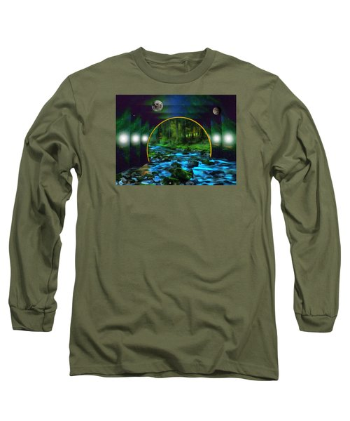 Whare Peaceful Waters Flow Long Sleeve T-Shirt by Mario Carini