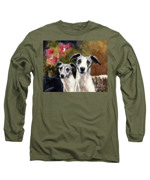 Long Sleeve T-Shirt featuring the painting Whippets by Molly Poole