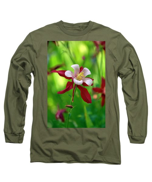 White And Red Columbine  Long Sleeve T-Shirt