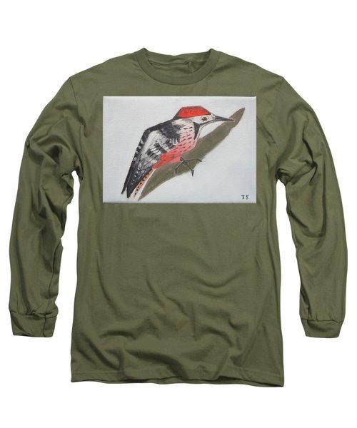 White-backed Woodpecker Long Sleeve T-Shirt by Tamara Savchenko