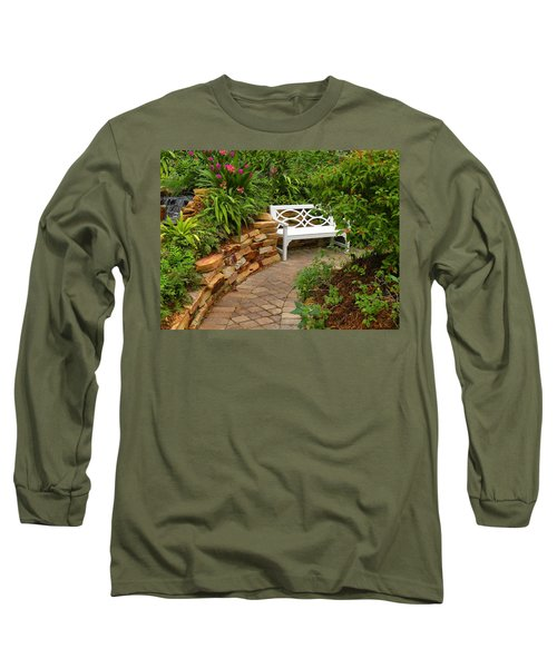 Long Sleeve T-Shirt featuring the photograph White Bench In The Garden by Rosalie Scanlon