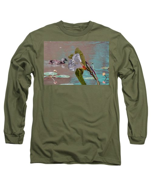 White Bindweed And Mandarin Duck Mix #g5 Long Sleeve T-Shirt