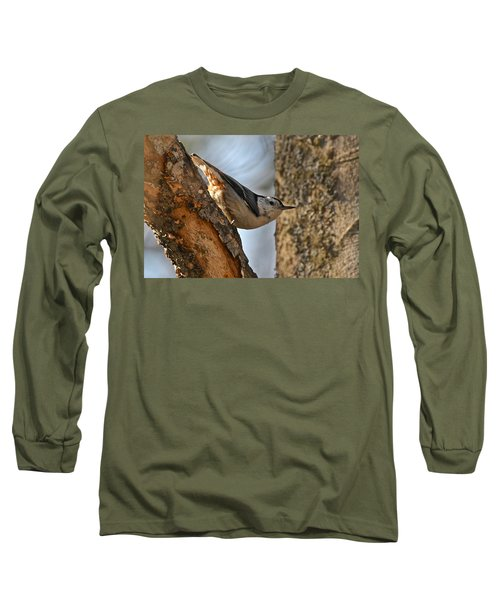 White Breasted Nuthatch 370 Long Sleeve T-Shirt by Michael Peychich