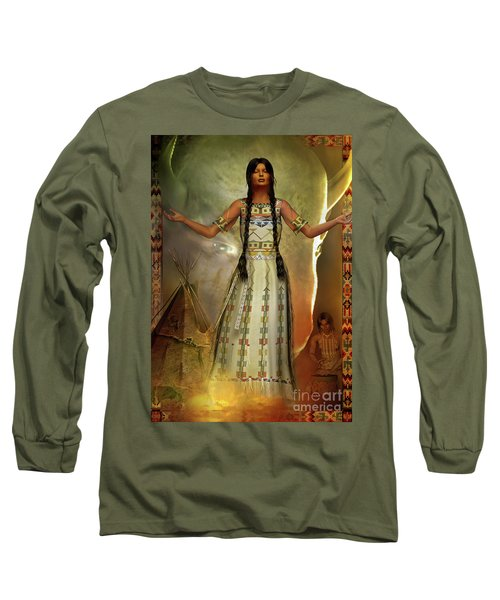 White Buffalo Calf Woman Long Sleeve T-Shirt by Shadowlea Is