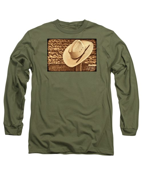 White Cowboy Hat On Fence Long Sleeve T-Shirt by American West Legend By Olivier Le Queinec