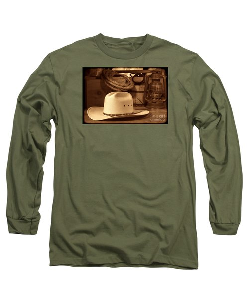 White Cowboy Hat On Workbench Long Sleeve T-Shirt by American West Legend By Olivier Le Queinec