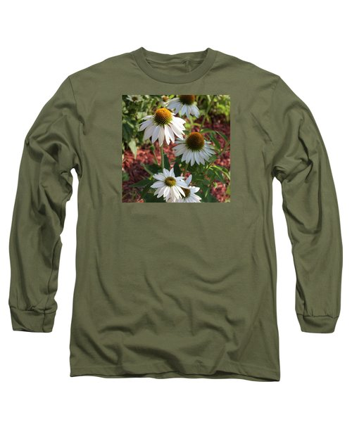 White Echinacea Long Sleeve T-Shirt by Suzanne Gaff
