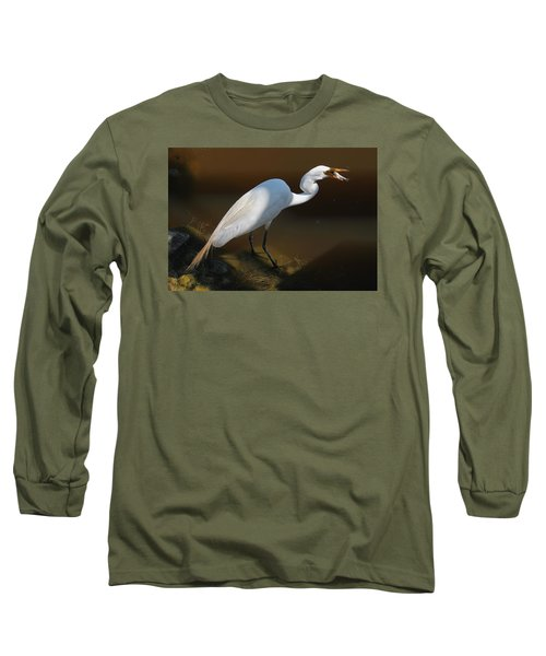 White Egret Fishing For Midday Meal II Long Sleeve T-Shirt by Suzanne Gaff