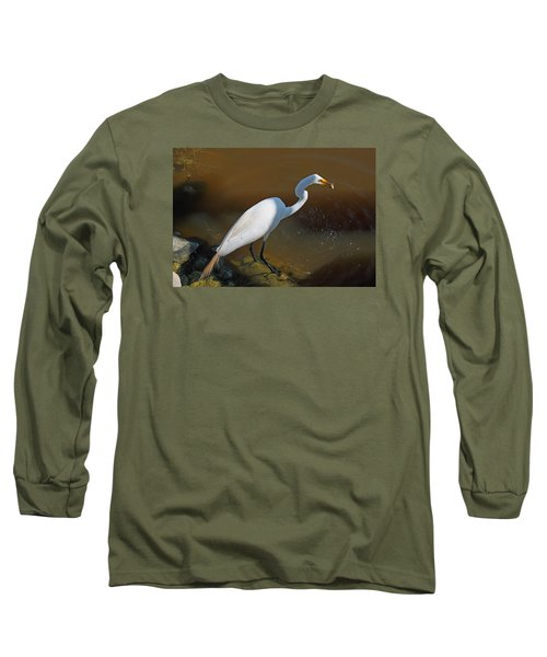 White Egret Fishing For Midday Meal Long Sleeve T-Shirt by Suzanne Gaff