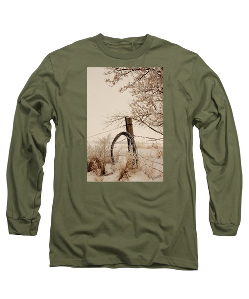 White Fence Long Sleeve T-Shirt by Shirley Heier