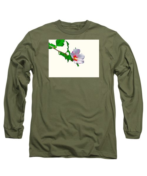 White Flower And Leaves Long Sleeve T-Shirt by Craig Walters