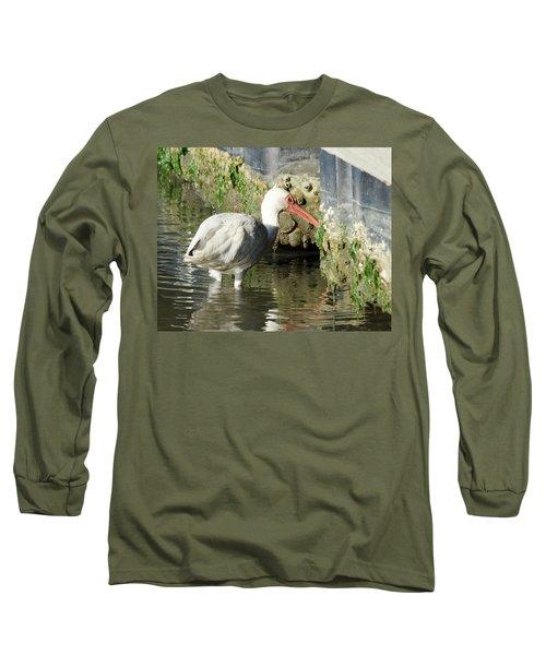 White Ibis Headed Home Long Sleeve T-Shirt by George Randy Bass