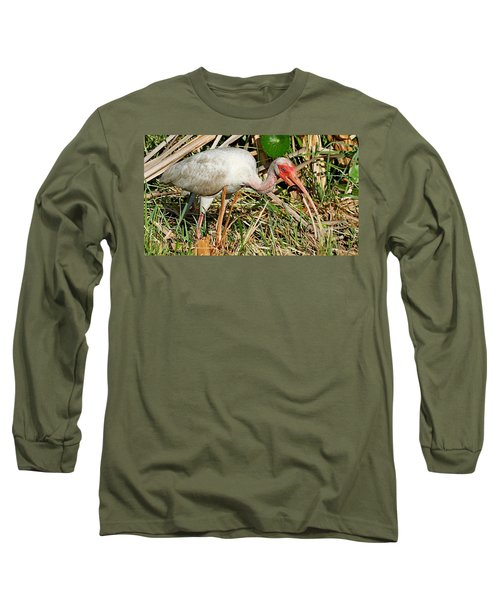 White Ibis With Crayfish Long Sleeve T-Shirt
