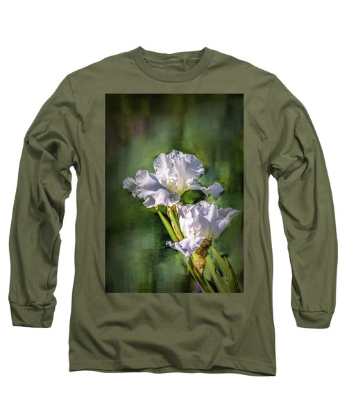 White Iris On Abstract Background #g4 Long Sleeve T-Shirt