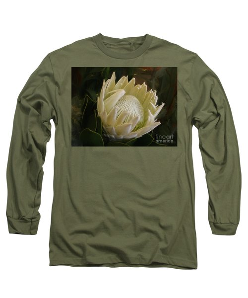 Long Sleeve T-Shirt featuring the photograph White King Protea By Kaye Menner by Kaye Menner