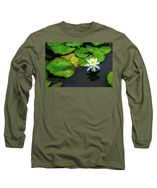 White Lily And Rippled Water Long Sleeve T-Shirt