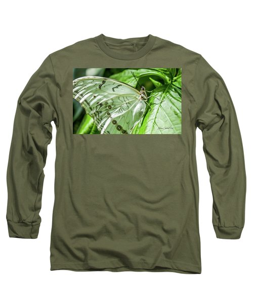 Long Sleeve T-Shirt featuring the photograph White Morpho Butterfly by Joann Copeland-Paul
