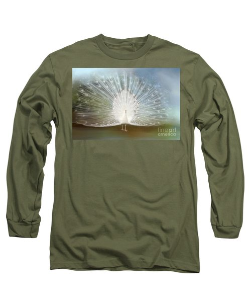 Long Sleeve T-Shirt featuring the photograph White Peacock In All His Glory by Bonnie Barry
