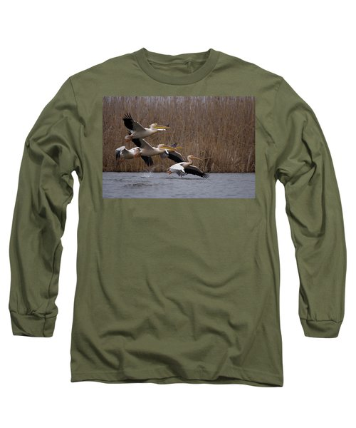 White Pelicans In Flight Over Lake Long Sleeve T-Shirt
