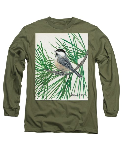 White Pine Chickadee Long Sleeve T-Shirt by Kathleen McDermott