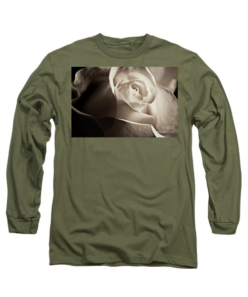 Long Sleeve T-Shirt featuring the photograph White Rose In Sepia 2 by Micah May