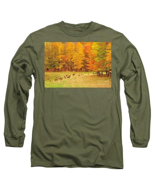 White Tail Deer Herd Long Sleeve T-Shirt