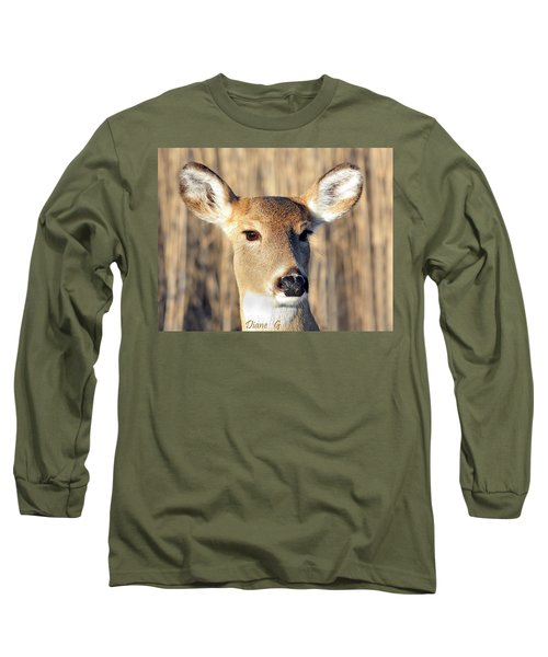 White-tailed Deer Long Sleeve T-Shirt by Diane Giurco