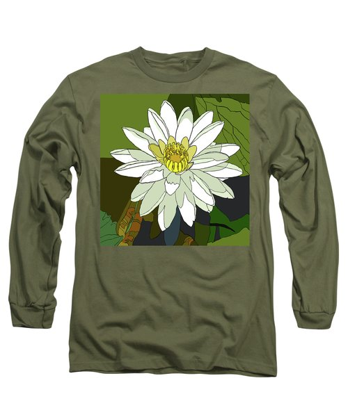 White Water Lily Long Sleeve T-Shirt by Jamie Downs
